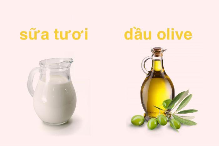 Mặt nạ sữa tươi và dầu olive