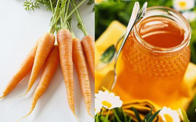 cà rốt và mật ong giúp giảm mụn
