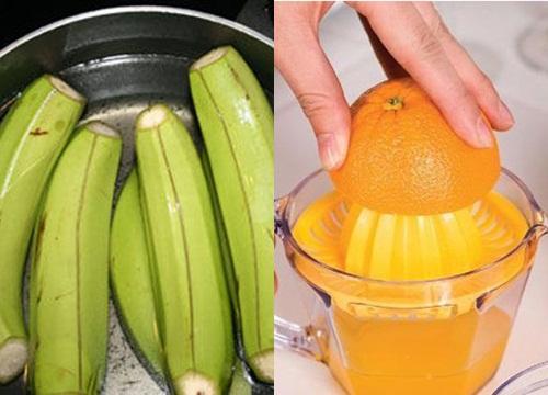 Công thức 2: Chuối xanh + cam