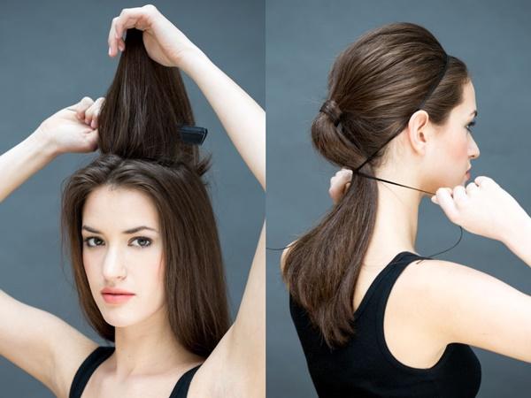 Buộc tóc thành một đuôi ngựa thấp rồi tết thành một đuôi sam lỏng, quấn phần đuôi sam này vòng quanh điểm chốt đuôi ngựa ngay sát da đầu rồi cài đuôi tóc vào bên trong, dùng kẹp tăm cố định lại. Bạn sẽ tạo một diện mạo thú vị hơn so với kiểu búi thấp truyền thống.  7. Tóc xoắn đỉnh đầu  Chia một phần tóc trước trán từ giữa đỉnh đầu (một khu hình tam giác), lấy lọn tóc này xoắn lại và cài lên đỉnh đầu bằng kẹp tăm. Bạn đã có ngay kiểu tóc trẻ trung mà không phải bận tâm đến phần tóc mái khó chiều hay chia ngôi theo bất cứ tỷ lệ nào nữa.  8. Tóc cài trong băng đô