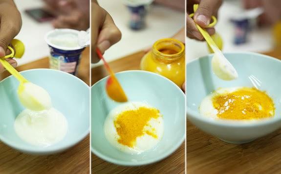 Hỗn hợp 1: Bột nghệ + sữa chua