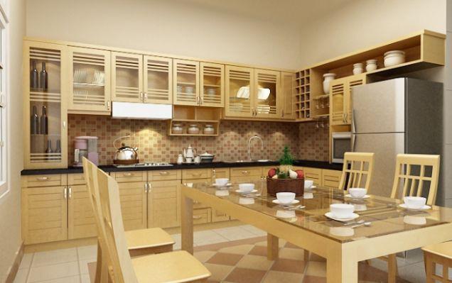 Sự phối hợp hài hòa giữa màu tủ bếp với bàn ăn khiến không gian bếp ăn trở nên đẹp và sang trọng hơn.