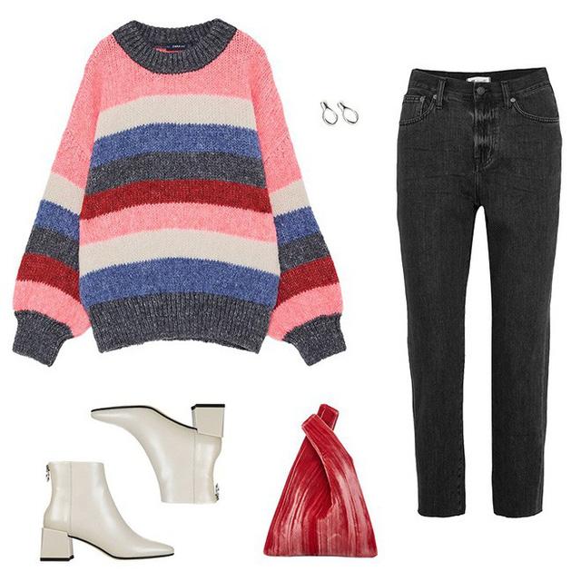 Áo len kẻ nhiều màu đang hot và đây là 3 kiểu quần rất ăn ý để kết hợp cùng