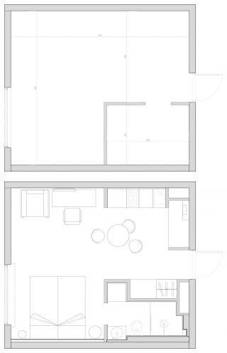Sơ đồ bố trí các không gian chức năng trong căn hộ nhỏ.
