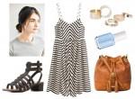 Outfit đơn giản ngày hè: váy kẻ + dép xăng đan