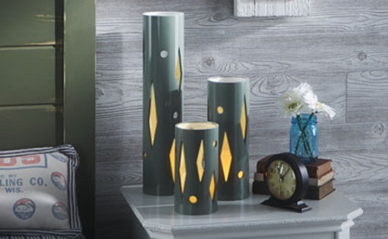 Kết quả hình ảnh cho đèn tự làm từ ống nước
