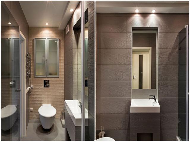 Phòng tắm đơn giản, tiện dụng với nội thất hiện đại cùng gam màu trung tính.