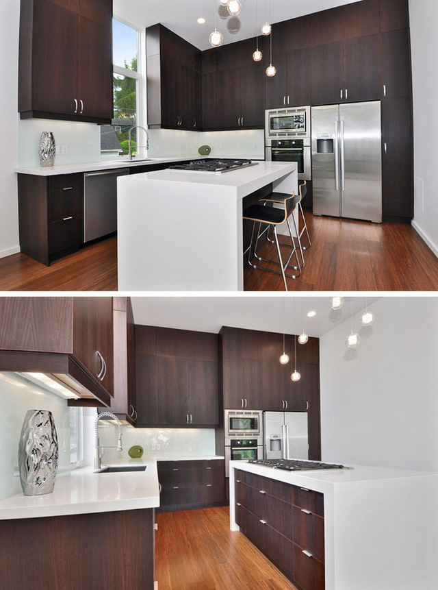 Bên cạnh gam màu trắng sáng, chất liệu thép không gỉ cũng là một chất liệu lý tưởng để bạn lựa chọn cho những căn bếp sử dụng gỗ tự nhiên sẫm màu.
