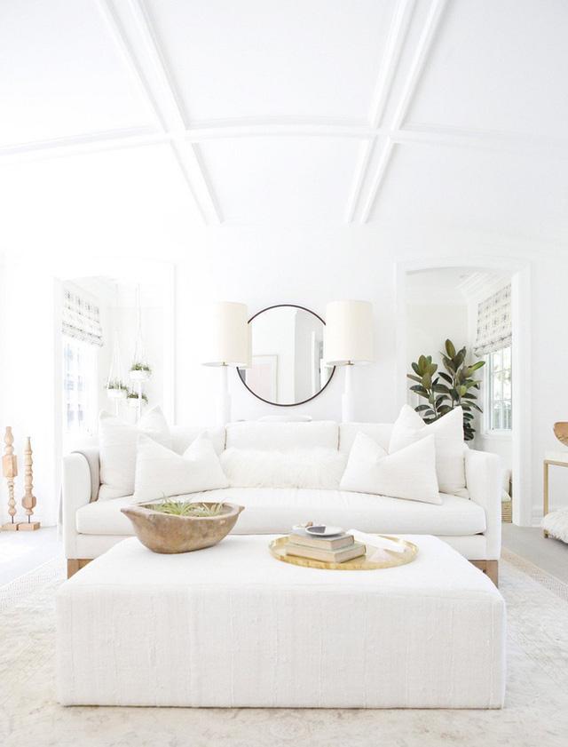 Đồ nỉ nhung màu trắng là một giải pháp rất ấm cúng để chào đón cho một phòng khách.
