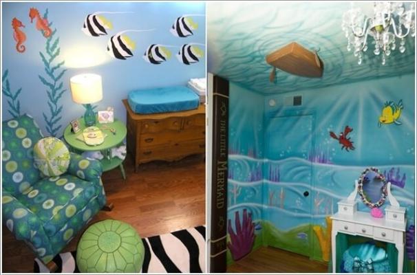 1. Bạn có thể chọn một phần của bức tường và trần, nơi các bạn nhỏ thường chơi đùa để sơn một màu xanh của nước biển. Những đàn cá bơi lội tung tăng, những con thuyền nhỏ hay ánh sáng từ mặt trời sẽ giúp cho bức tranh về biển cả thêm sinh động.