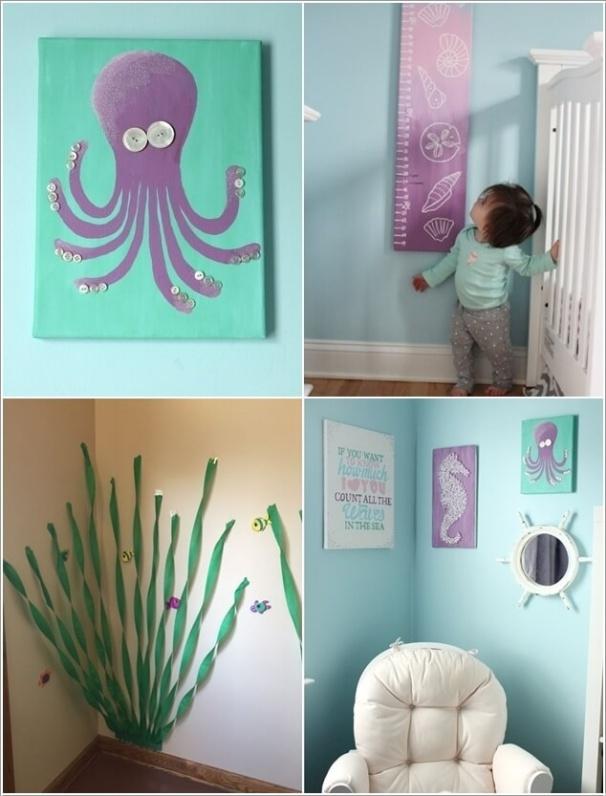 3. Một vài điểm nhấn từ đồ vật trang trí như tranh về sinh vật biển, những rặng san hô nho nhỏ từ vải ruy băng cũng là những ý tưởng thú vị mang đến cho căn phòng của bé vẻ đẹp mát mẻ và thân thuộc của biển.