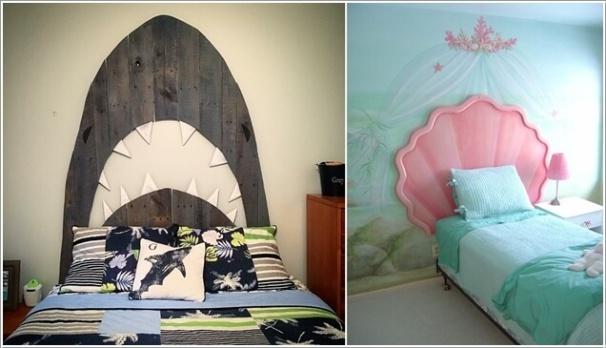 5. Trang trí đầu giường lấy ý tưởng từ biển cả như hàm cá mập bằng gỗ ốp tường hay vỏ ngọc trai, thêm họa tiết trên ga gối để mang lại sự trọn vẹn cho vẻ đẹp của không gian nghỉ ngơi.