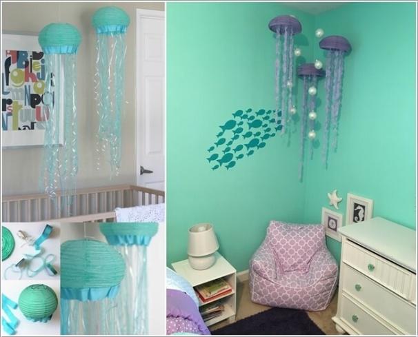 6. Dành ra một buổi tối, thêm một chút khéo léo và sáng tạo, bạn sẽ có ngay những chú sứa đáng yêu vừa tạo điểm nhấn cho căn phòng vừa làm đồ treo nôi bắt mắt cho bé.