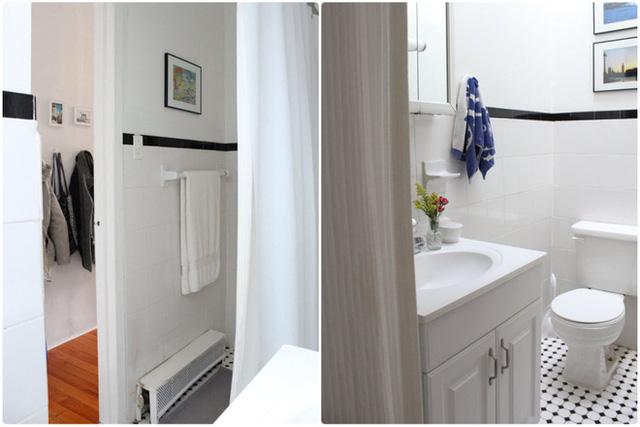 Phòng tắm xinh xắn, gọn gàng với gam màu trắng.