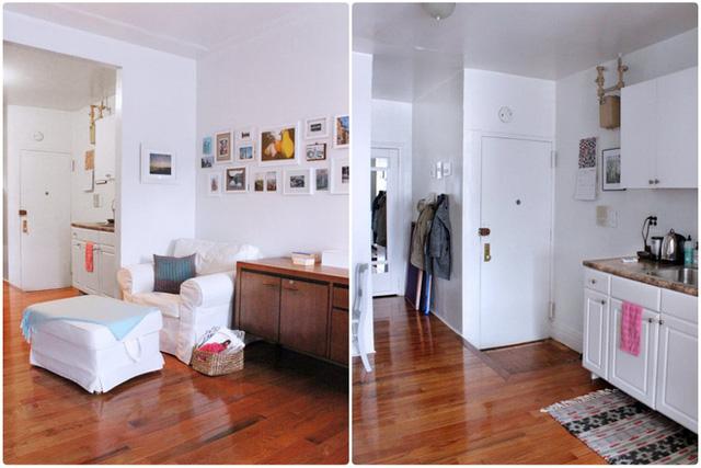 Khu vực nấu nướng được bố trí đối diện với phòng khách. Tiếp nối màu sắc trong không gian, nơi nấu nướng được chọn màu trắng cùng tông với màu nền. Sự bài trí các vật dụng, đồ dùng một cách khoa học gọn ghẽ trên cùng một bức tường đủ để giúp căn hộ đẹp hơn và sáng hơn.
