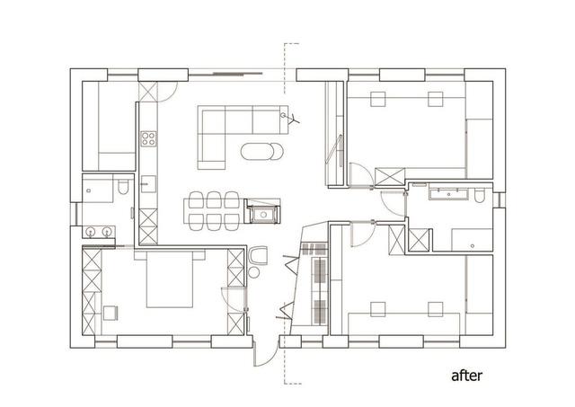 Mặt bằng căn hộ 134 m2.