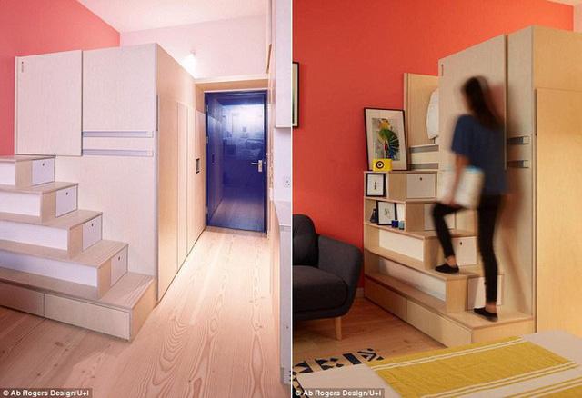 Cầu thang tích hợp thêm ngăn lưu trữ giúp căn hộ gọn gàng hơn.