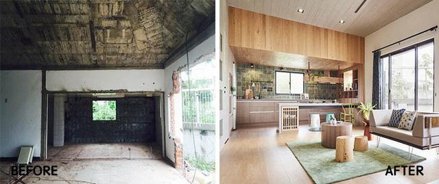 Hình ảnh ngôi nhà trước và sau khi cải tạo.