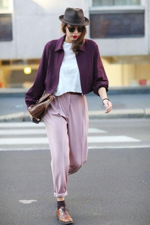 Kết quả hình ảnh cho cách phối quần áo màu tím, hồng.