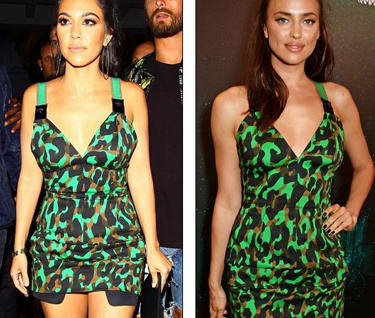 Irina Shayk và Kourtney Kardashian (trái) cùng diện chiếc váy ngắn gợi cảm giá 2000 đô của Versace đi dự tiệc