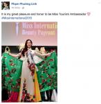 Phương Linh đã giành danh hiệu tại Hoa hậu Quốc tế 2016
