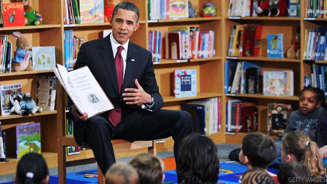 Ông Obama đọc cuốn sách of thee I sing cho trẻ em.
