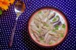 Cháo gà nấu nấm bổ dưỡng cho bữa sáng