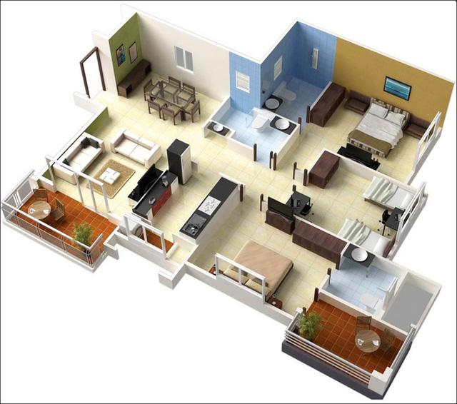 10 mẫu căn hộ 3 phòng ngủ đẹp cho những gia đình nhiều thế hệ cùng chung sống