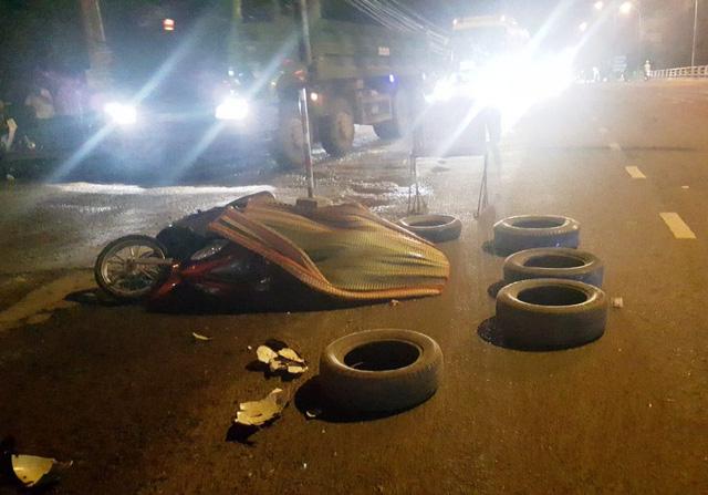 Hiện trường vụ tai nan giao thông khiến 1 phụ nữ chết tử vong.