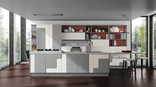 17. Bên cạnh cặp màu trắng – xám, đỏ gạch cũng là một gợi ý dành cho bạn sử dụng bên trong nhà bếp.