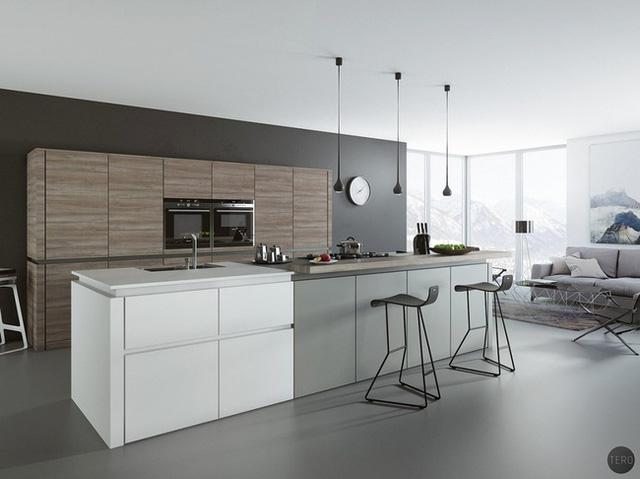 4. Sự kết hợp hoàn hảo giữa những mảng màu xám, trắng và gỗ tự nhiên mang đến một không gian nhà bếp vô cùng cá tính, phong cách.