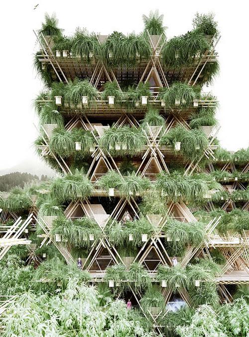 Các lớp tre xếp chồng lên nhau tạo thành nhiều tầng với những ngôi nhà tam giác trông giống như một khu chung cư.