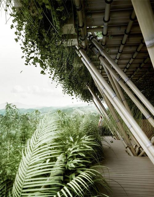 Không giống như những tòa nhà khác, ngôi nhà bằng tre này cho phép cây cối mọc tự nhiên lên đó.