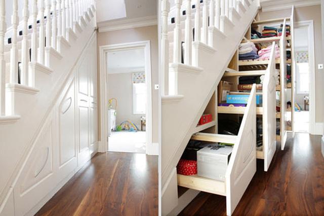 Cầu thang kết hợp tủ đựng đồ, ý tưởng tuyệt vời cho những căn nhà nhỏ.