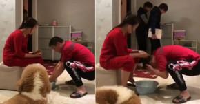 Đang rửa chân cho vợ thì bạn đến, chồng đỏ mặt cúi xuống chậu nước quát: 'Gội đầu cho ông'