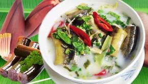 Canh lươn nấu bắp chuối bổ dưỡng, lạ miệng