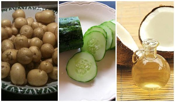 Trị thâm quầng mắt hiệu quả với khoai tây, dưa leo và dầu dừa