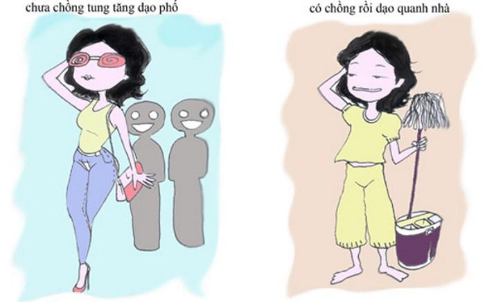 Sự khác biệt thú vị của phụ nữ trước và sau khi lấy chồng